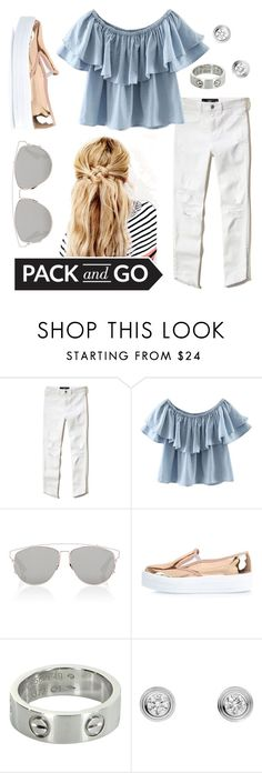 """Pack and go: Labor Day"" by faithisabelle ❤ liked on Polyvore featuring Hollister Co., WithChic, Christian Dior, River Island and Cartier"