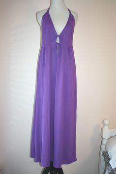 Vtg Gaymode JC Penney Nylon Night Gown Full Slip Lingerie L  Maxi Nightie Purple #Gaymode #Gowns #eBay