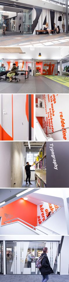 Massey University is New Zealand's biggest university. Strategy Design & Advertising, in collaboration with Athfield Architects, developed a flexible way-finding system and eye-catching super graphics that helped the library reclaim it's relevance in the 21st century.