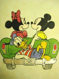 WALT DISNEY ORIGINAL Etching 1 - Limited Edition - Mickey, Minnie and Donald Duck - Vintage and Handmade in Germany