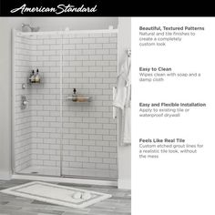 American Standard Passage 32 in. x 60 in. x 72 in. 4-Piece Glue-Up Alcove Shower Wall in White Subway Tile-P2969SWT.375 - The Home Depot Shower Wall Kits, Shower Wall Panels, Subway Tile Patterns, Glass Corner Shelves, Barn Style Doors, White Subway Tiles, Frameless Shower Doors, Basement Remodeling, Basement Ideas