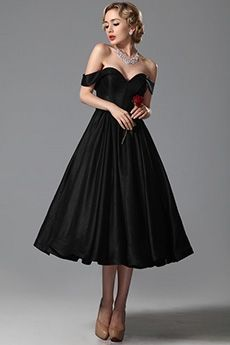 Ball Gown Sweetheart Off-the-shoulder Tea-length Elastic Woven Satin Evening Dress