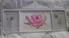 Vintage hand painted roses frame