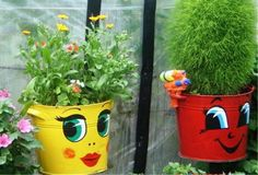 Cute planters! Paint faces then give them hair with flowers or grasses.