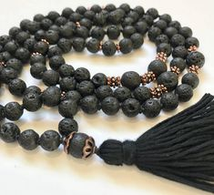 The Universal Support Mala- Connect and Unwind. Lava Stone and Rose Gold Japa Mala Necklace. 108, Hand Knotted by MoksaMalas on Etsy
