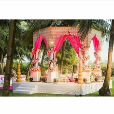 """3,395 Likes, 6 Comments - TheWeddingBrigade.com (@theweddingbrigade) on Instagram: """"Goa mandaps are just swankier than others isn't it? Love this one with a dash of hot pink!! Shot by…"""""""
