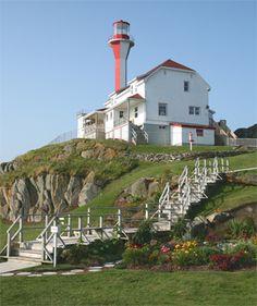 Cape Forchu Lighthouse, Nova Scotia Canada at Lighthousefriends.com