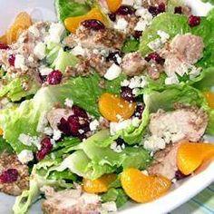 Photo de recette : Salade fruitée au poulet croustillant