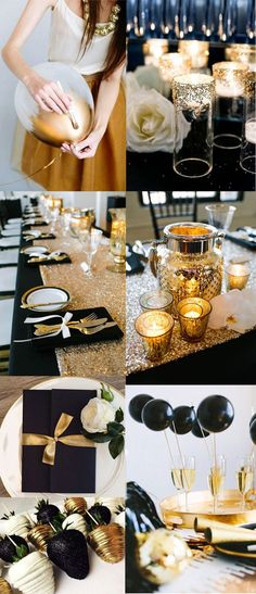 elegant and chic black and gold wedding color ideas for 2017 trend