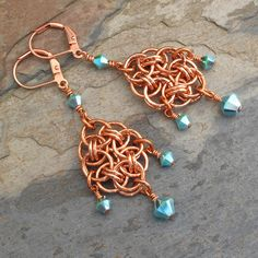 Swarovski Crystal Copper Chainmaille Earrings