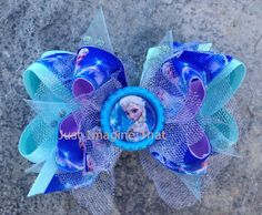 Frozen Elsa Boutique Hair Bow 4.5 across by JustImagineThatBows, $8.00