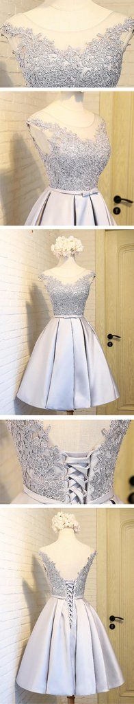 Scoop Neckline Two Straps Gray Lace Beaded Homecoming Prom Dresses, Affordable Short Party Prom Dresses, Perfect Homecoming Dresses