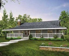 One Story Country House Plans with Wrap around Porch And Red Roof ...