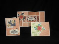 cards by Pam Jarrett using CTMH Claire paper.... with extra shine.... you can see the shine just a little on the bottom right pinwheel fin... see post for shine recipe!