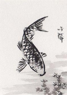 Lin Li's Chinese Art: Orig Art ACEO SumiE Chinese Ink Brush Painting KOI Fish