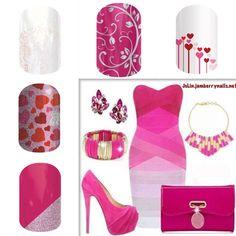 Sweet pink Valentine  Jamberry nails Valentine manicure date night Valentine's Day