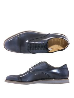 Blue burnished effect leather lace-up shoes with a light-grey rubber sole and cream stitching. British Heritage brand Church's footwear are made by artisans using traditional techniques. This might be a brand with history but these blue burnished effect shoes are for the decidedly modern man.