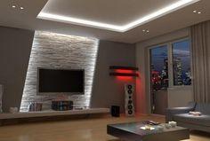 indirekte led Wandbeleuchtung im Wohnzimmer hinter Fernseher
