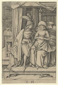 Couple Seated on a Bed, from Scenes of Daily Life, Artist: Israhel van Meckenem (German, Meckenem ca. 1440/45–1503 Bocholt)