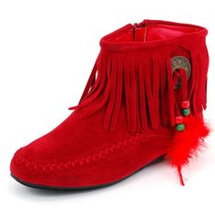 Fringe Moccasin Boots | fringe moccasin boots product features flat heels fringe and feather ...
