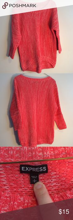 Express coral colored sweater 3/4 sleeve size s Express three-quarter length sleeve coral sweater size small. In great used condition material is 60% acrylic 40% merino wool. Very cozy sweater Express Sweaters