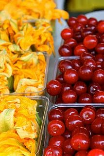 Squash blossoms & cherries