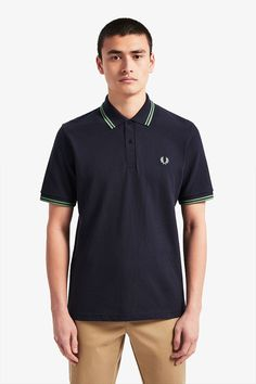 Fred Perry Laurel Collection Twin Tipped Polo Shirt- Navy / Pistachio (Made In England! Fred Perry Shirt, Fred Perry Polo, Celebrity Closets, Celebrity Style, Twin Tips, Tennis Fashion, Nike Outfits, Donna Karan, Men's Collection