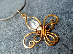 LYS FLOWER pendant  copper wire combined an by MakeMyStyle on Etsy