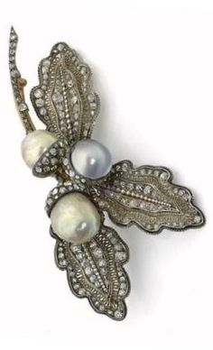 Gold, silver, diamond and pearl brooch, by Octave Massin, circa 1878. Designed…
