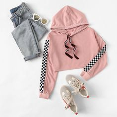 Tape Drawstring Hoodie Plaid Sweatshirt -Letter Print Tape Drawstring Hoodie Plaid Sweatshirt - Drop Shoulder Raw Hem Crop Hoodie Off Shoulder Drawstring Split Front BlouseFor Women-romwe Sweatshirts - White, Grey, Plain, Black & Crew Neck Sweatshirts Teenage Outfits, Cute Outfits For School, Cute Casual Outfits, Outfits For Teens, Girls Fashion Clothes, Teen Fashion Outfits, Girl Outfits, Tween Fashion, Teenage Clothing