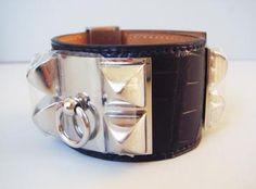 Hermès Collier De Chien Black Croc Cdc Bracelet Silver <3 <3 <3
