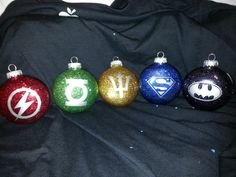 JLA etched christmas ornament set! Awesome boyfriend gift! Could probably even make our own ;)