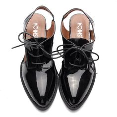 Yoins Black Leather Look Hollow Heel Lace-up Slingback Shoes ($45) ❤ liked on Polyvore featuring shoes, pointy toe shoes, synthetic leather shoes, black sling back shoes, black lace up shoes and black slingbacks
