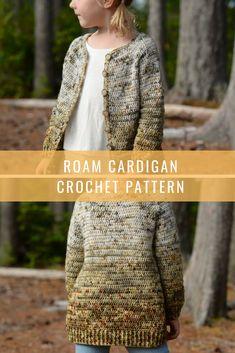 The Roam Cardigan Crochet Pattern for girls Affiliate link Crochet Children, Crochet Girls, Crochet Woman, Crochet For Kids, Crochet Ideas, Crochet Patterns, Crochet Sweaters, Crochet Tops, Cotton Crochet
