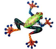 Frog Garden Art colourful Metal Home & Garden Wall Decor or Deck Ornament Garden Art, Home And Garden, Frogs, Decks, Ornament, Wall Decor, Metal, Animals, Wall Hanging Decor