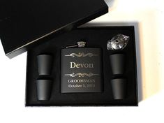Hey, I found this really awesome Etsy listing at http://www.etsy.com/listing/130032501/3-personalized-flask-set-groomsmen-gift
