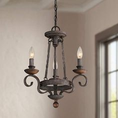 "Quoizel Noble 15"" Wide Rustic Black Mini Chandelier - #7T360 