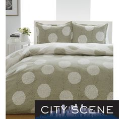 @Overstock.com - City Scene Raindance 3-Piece Comforter Set - Revamp your bedroom with this stylish, reversible three-piece comforter set. Featuring  a circular scroll pattern in a neutral color palette of sage and white, this 100 percent cotton bedding set will enhance any decor, and is machine washable.  http://www.overstock.com/Bedding-Bath/City-Scene-Raindance-3-Piece-Comforter-Set/7302687/product.html?CID=214117 $64.99