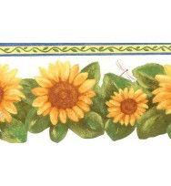 Blue White Sunflower Wallpaper Border