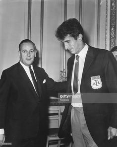 Minister of Sport Denis Howell (left) greeting Antonio Rattin, captain of Argentina's football team, at a reception following the teams elimination from the World Cup, at Lancaster House, London, July 25th 1966.