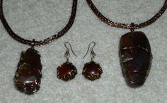 Indonesian Amber Viking Weave Pendants on Double Viking Weave Chains with matching Viking Weave Dragon's Tear Earrings