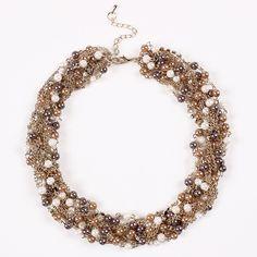 Elegant Imitation Pearl Drill Twist Design Exaggeration Choker Women Ladies Jewelry Necklace