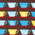 Print & Pattern, Happy Home, Cups Fiesta Brown Cups, Robert Kaufman, Line Patterns, Party Items, Fabric Design, Kids Rugs, Quilts, Retro, Happy