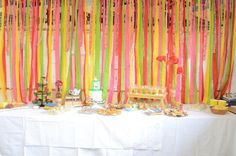 Alice in Wonderland Engagement Party  (surprise party!) Food table and decorations. I just like the streamers