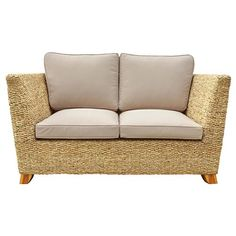 Charles Bentley Natural Water Hyacinth Two Seater Sofa With Padded Cushion