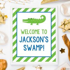 Use these 8x10 signs to make your party extra special! Welcome guests, label the food... Alligator Party, Label, Signs, Backgrounds, Drink, Food, Products, Gator Party, Beverage