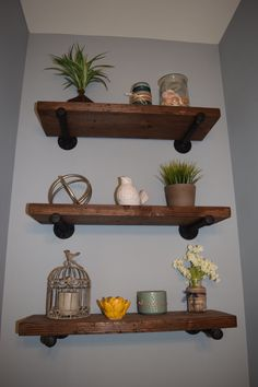 These beautiful solid wood shelves will be sure to catch the attention of your friends and family with their combination of warm rustic stained wood and modern industrial iron pipes.