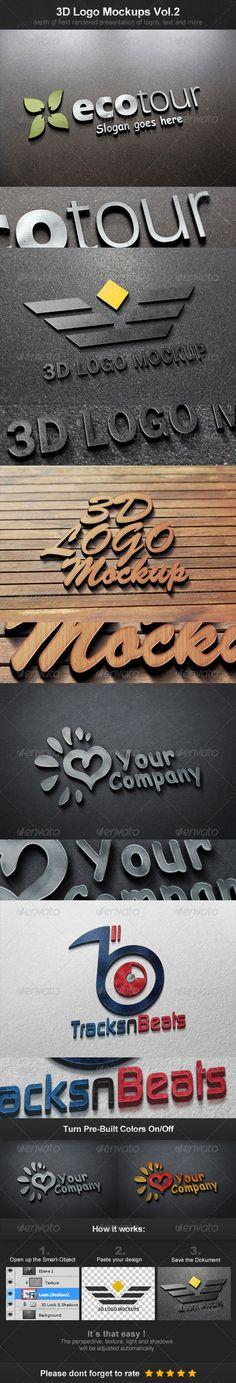 3D Logo Mockups Vol.2  -  PSD Template • Download ➝ https://graphicriver.net/item/3d-logo-mockups-vol2/3887513?ref=pxcr