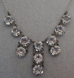 Victorian Art Deco Crystal Drop Necklace by StarliteVintageGems, $47.00