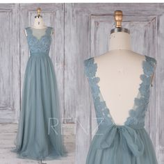 Bridesmaid Dress Dusty Blue Tulle Dress,Wedding Dress,Lace Illusion V Back Long Party Dress,Boat Neck A Line Sleeveless Maxi Dress(LS471) by RenzRags on Etsy https://www.etsy.com/listing/588237006/bridesmaid-dress-dusty-blue-tulle